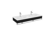 "64097 - ""Equal Washbasin Unit, 130 cm, with Double Washbasin, with Towel Holder, Patterned Black Oak"""