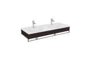 "64098 - ""Equal Washbasin Unit, 130 cm, with Double Washbasin, with Towel Holder, Elm"""