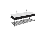 "64100 - ""Equal Washbasin Unit, 130 cm, with Double Washbasin, with Shelf, Patterned Black Oak"""