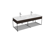 "64101 - ""Equal Washbasin Unit, 130 cm, with Double Washbasin, with Shelf, Elm"""