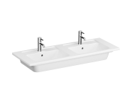 7038B003-0001 - Vanity Basin, Double, 120 cm, Two Bowl Area, Two Tap Holes, With Overflow Hole