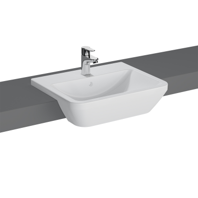 """Integra, Semi-recessed basin 55 cm, Semi-recessed basin, With tap hole, with overflow hole"""