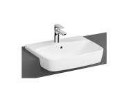 7073B003-0001 - Semi-Recessed Basin, 55 cm, One Tap Hole, With Overflow Hole