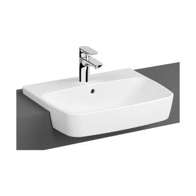 Semi-Recessed Basin, 55 cm, One Tap Hole, With Overflow Hole