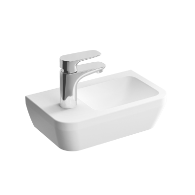 """Integra, Compact washbasin with left faucet area Compact washbasin with left faucet area, Without tap hole, with overflow hole"""