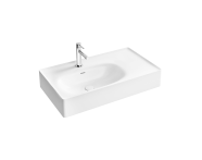 "7242B403-0001 - ""Equal Asymmetrical Washbasin 80 cm, Asymmetrical washbasin, one tap hole, with overflow hole"""