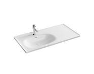 "7243B403-0001 - ""Equal Asymmetrical Vanity basin 100 cm, Asymmetrical vanity basin, one tap hole, with overflow hole"""
