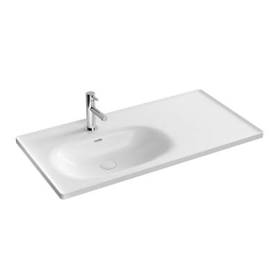 """Equal Asymmetrical Vanity basin 100 cm, Asymmetrical vanity basin, one tap hole, with overflow hole"""