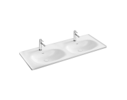 "7244B403-0001 - ""Equal Washbasin with two bowls 130 cm,  Vanity basin, two tap holes, with overflow hole"""
