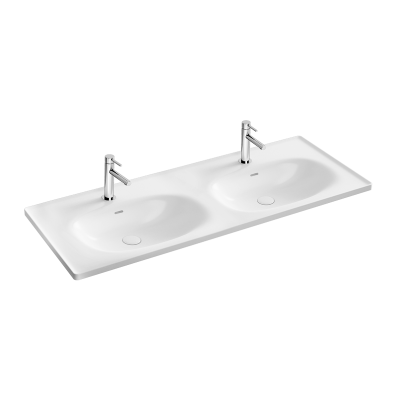 """Equal Washbasin with two bowls 130 cm,  Vanity basin, two tap holes, with overflow hole"""