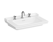7802B003-6174 - Vanity Basin, 80 cm, Three Tap Holes, With Overflow Hole, With Metallic Legs