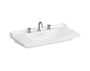 7803B003-6176 - Vanity Basin, 100 cm, Three Tap Holes, With Overflow Hole, With Metallic Legs