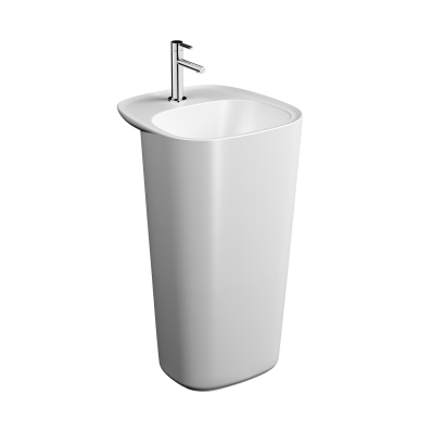 """Monoblock Washbasin, With tap hole, with overflow hole (Matte white)"""