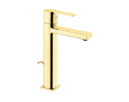A4194223IND - Flo S Basin Mixer , With Pop-Up-For Bowls, Gold