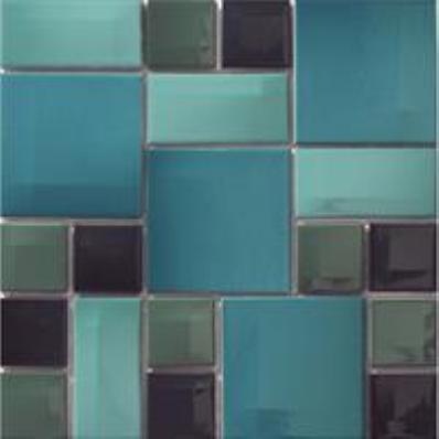 10x10 Day-to-Day Aqua Blue Mosaic Glossy